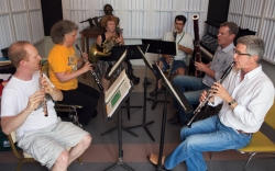 The 2011 Chautauqua Wind Quintet, from left: Richard Sherman (flute), Jan Eberle (oboe), Donna Dolson (French Horn, sub), Jerome Simas (bass clarinet, guest), Jeffrey Robinson (bassoon), and Eli Eban (clarinet). Photo by Greg Funka.