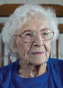 Miriam Goodman turns 100 Saturday. Photo by Eve Edelheit.