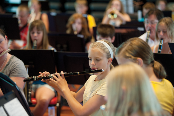 Band camp rehearsal in McKnight Hall on Wednesday