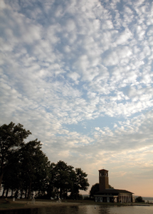 Morning breaks over the Miller Bell Tower. Photo by Greg Funka.