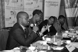 Next Generation CLSC Zimbabwe member Masimba Nyamanhindi, a leader of the Zimbabwean Student Solidarity Trust, speaks as part of a panel discussion on the role of youth in rebuilding Zimbabwe in May. Submitted photo.