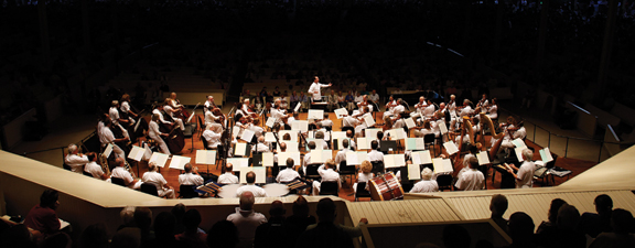 Guest conductor Rossen Milanov leads the Chautauqua Symphony Orchestra Tuesday evening in the Amphitheater.