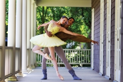 Alessandra Ball and Addul Manzano pose on the porch of Carnahan-Jackson Dance Studios. Both are members of the North Carolina Dance Theatre in Residence and will perform their last show for the season with School of Dance students and the Chautauqua Symphony Orchestra Saturday. Photo by Demetrius Freeman.