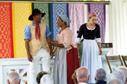 Colonial Williamsburg actor-interpreters perform 'Promise of Freedom' at the Hall of Philosophy Wednesday afternoon. Photo by Demetrius Freeman.