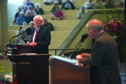 Gordon S. Wood takes questions after delivering Monday's morning lecture in the Amphitheater. Photo by Ellie Haugsby.