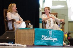 Dame Julie Andrews and Emma Walton Hamilton answer questions from the audience Friday morning in the Amphitheater. Photo by Greg Funka.