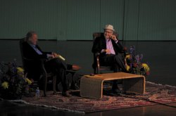 Acclaimed television producer Norman Lear laughs with distinguished author and Week One host Roger Rosenblatt Monday morning in the Amphitheater. The pair spoke about Lear's roots, American society, and the interaction between politics and religion. Photo by Eric Shea.