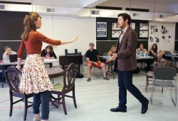 Carolyn Holding and Max Roll rehearse for The Philadelphia Story at the Brawdy Theater Studios Wednesday afternoon. Holding is playing the role of Tracy Lord and Roll is playing the role of Mike Connor. The Philadelphia Story opens Saturday, June 30. Michelle Kanaar | Staff Photographer