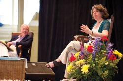 Meg Wolitzer, New York Times bestselling author, talks with Roger Rosenblatt at the Ampitheater on Wednesday. Photo by Adam Birkan.