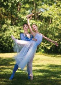 "Lucas Bilbro and Isabella LaFreniere will perform Balanchine's ""Serenade,"" danced to Tchaikovsky's Serenade for Strings in C, Op. 48, with the Music School Festival Orchestra tonight in the Amphitheater. Photo by Adam Birkan."