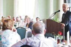 Ralph Cicerone, president of the National Academy of Sciences and Thursday's morning lecturer, answers general science questions from attendees of the 7th Annual Eleanor B. Daugherty Society Recognition Luncheon at the Athenaeum Hotel Thursday afternoon. Photo by Lauren Rock.