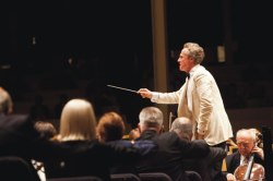 "Guest conductor Robert Duerr leads the Chautauqua Symphony Orchestra and Buffalo Philharmonic Chorus through Brahms' ""Ein Deutsches Requiem"" Saturday in the Amp."