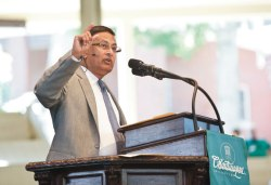 Husain Haqqani, former Pakistani ambassador to the United States, speaks on the damaged alliance between the two countries Wednesday morning in the Amphitheater. Photo by Lauren Rock.