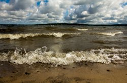 Chautauqua Lake waves wash ashore on the Institution's waterfront. Photo by Greg Funka.