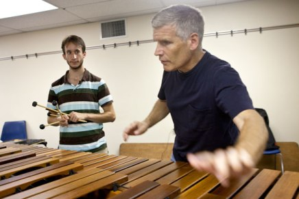 Burritt explores world of sound with percussion students