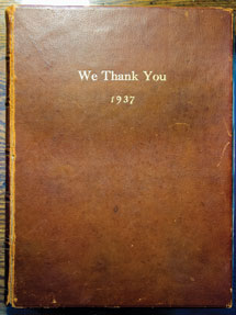"The book, titled ""We Thank You,"" presented to Chautauqua Reorganization Corporation leader Sam Hazlett in appreciation of his work to ensure Chautauqua's future."