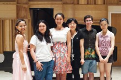 The six 2012 School of Music Piano Competition finalists after their final-round performances: Rie Tanaka, Lishan Xue, Jie Ren, Yi Qing Tang, Michael Delfin and first prize winner Jiao Sun. Photo by Lauren Rock.