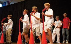 Boys' and Girls' Club campers lip-sync and dance onstage at the Amp last year during the 28th annual Air Band event. Daily file photo.