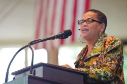 Julianne Malveaux, an economist and president emerita of Bennett College for Women, speaks Tuesday morning in the Amphitheater. Photo by Adam Birkan.