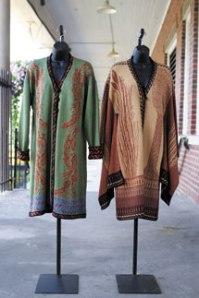 Green Koifish Coat and Norma Druid Priestess Coat by Sandy D'Andradé. Photo by Eric Shea.