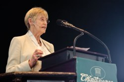 Stella Rimington, novelist and former director general of the British Security Service (MI5), speaks Wednesday morning in the Amphitheater. Photo by Adam Birkan.
