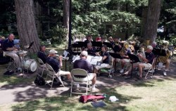 Thursday Morning Brass performs earlier this season in the garden behind Smith Wilkes Hall. Photo by Greg Funka.