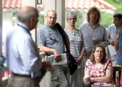 Brian Smith | Staff PhotographerChautauqua Institution President Tom Becker addresses community members at the weekly Trustees' Porch Discussion Wednesday morning at the Hultquist Center. Becker spoke on five strategic initiatives Institution staff is working to implement.