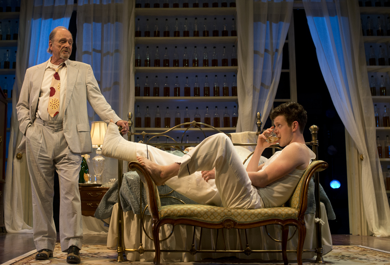 Roxana Pop   Staff PhotographerBig Daddy (Harris Yulin) confronts Brick (Peter Mark Kendall) about his drinking problem and his troubled marriage to Maggie the Cat in CTC's production of Cat on a Hot Tin Roof, which runs through Sunday, July 7, at Bratton Theater.