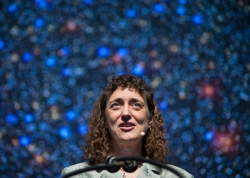 Benjamin Hoste | Staff PhotographerBenjamin Hoste | Staff Photographer  Astronomer Jennifer Wiseman discusses the Hubble Space Telescope and the intersection of science and religion in her lecture Friday morning in the Amphitheater.
