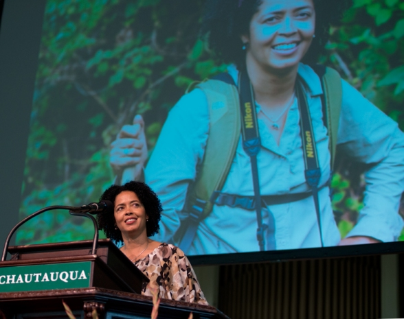 "Roxana Pop | Staff PhotographerPaula Kahumbu, the Nairobi-based executive director of WildlifeDirect and of the Kenya Land Conservation trust, lectures on ""The Crisis Facing Elephants in Africa""  Tuesday morning in the Amphitheater."