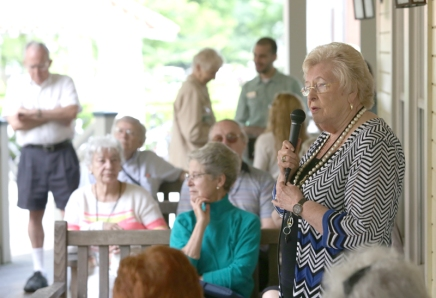 Campbell shares Department of Religion initiatives at porch discussion