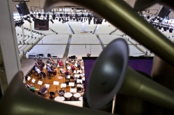 Benjamin Hoste | Staff PhotographerThe façade of the Massey Memorial Organ looms over Chautauqua Symphony Orchestra afternoon rehearsal on July 18 in an empty Amphitheater.