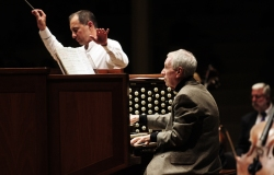 Katie McLean | Staff PhotographerGuest conductor Rossen Milanov and organist Jared Jacobsen celebrate the 20-year anniversary of the Massey Memorial Organ's rededication in a performance with the Chautauqua Symphony Orchestra Thursday night in the Amphitheater.