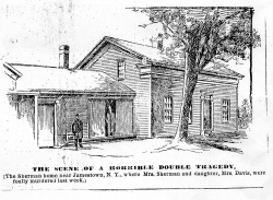 "Norman Carlson | provided image ""THE SCENE OF A HORRIBLE DOUBLE TRAGEDY,"" blares the caption headline of this December 1894 news sketch in all-capitals bold type. It continues: ""The [Shearman] home near Jamestown, N.Y., where Mrs. [Shearman] and daughter, Mrs. Davis, were foully murdered last week."" The double murder is the subject of historian Norman Carlson's 3:30 p.m. Heritage Lecture today in the Hall of Christ."