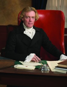 Barker, portraying Jefferson, speaks to Founders' vision of pursuit of happiness