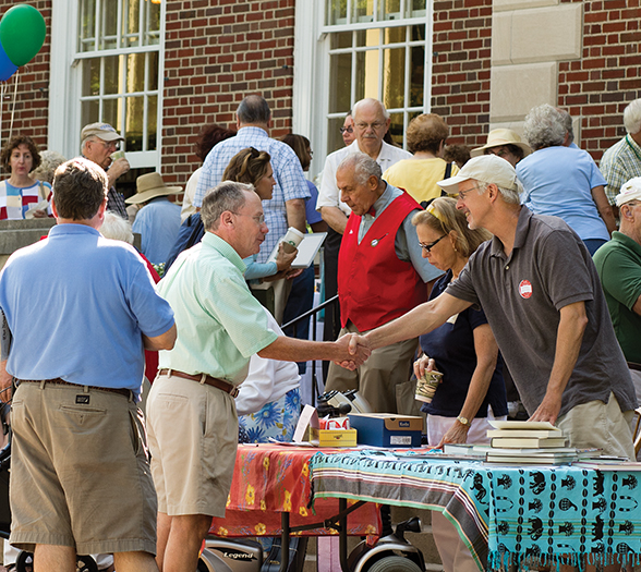 Greg Funka | Staff PhotographerChautauquans celebrate 2012's Library Day on the front porch of Smith Memorial Library.