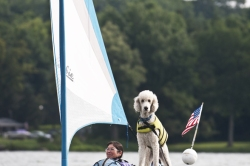 Sandy Gelnaw sails with her dog, Austin. (2)