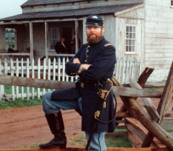"PROVIDED PHOTOAndrew Masich in full regalia, dressed for his 47-second appearance in the film ""Gettysburg,"" in which he gets killed on Little Round Top, following the actor Jeff Daniels in a charge."