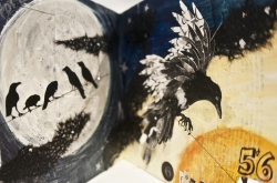 "Debra Eck's altered, mixed media book ""Magpies"" is featured in the VACI Open Members Exhibition. (1)"