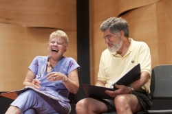 Katie McLean | Staff PhotographerActors Nancy Karp and Ralph Walton share a laugh while rehearsing the parts of Ruth and Harry LeBlanc in the one-act production of Alexandra Wednesday afternoon in Fletcher Music Hall.