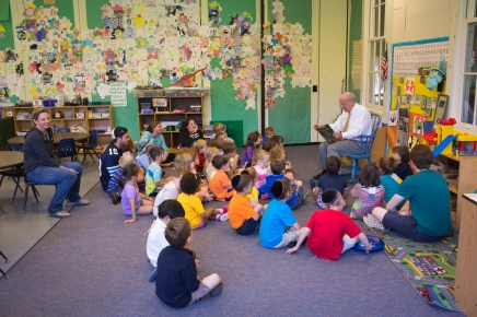 President Becker regales Children's School students with tales of Micawber the squirrel