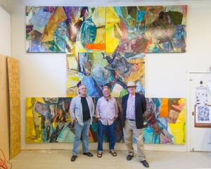 Jack Rasmussen, director/curator of the Katzen Art Center at American University, Don Kimes, artistic director of the Visual Arts at Chautauqua Institution, and Robert Storr, dean of the Yale University School of Art, pose in Kimes' Chautauqua studio. (Provided photo)
