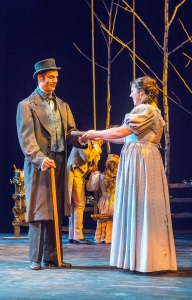 Eugene Onegin, played by Matthew Worth, and Tatiana, played by Elizabeth Baldwin, discuss literature when they first meet in the opera Eugene Onegin. Onegin criticizes her choice of reading romantic literature. (Joshua Boucher | Staff Photographer)