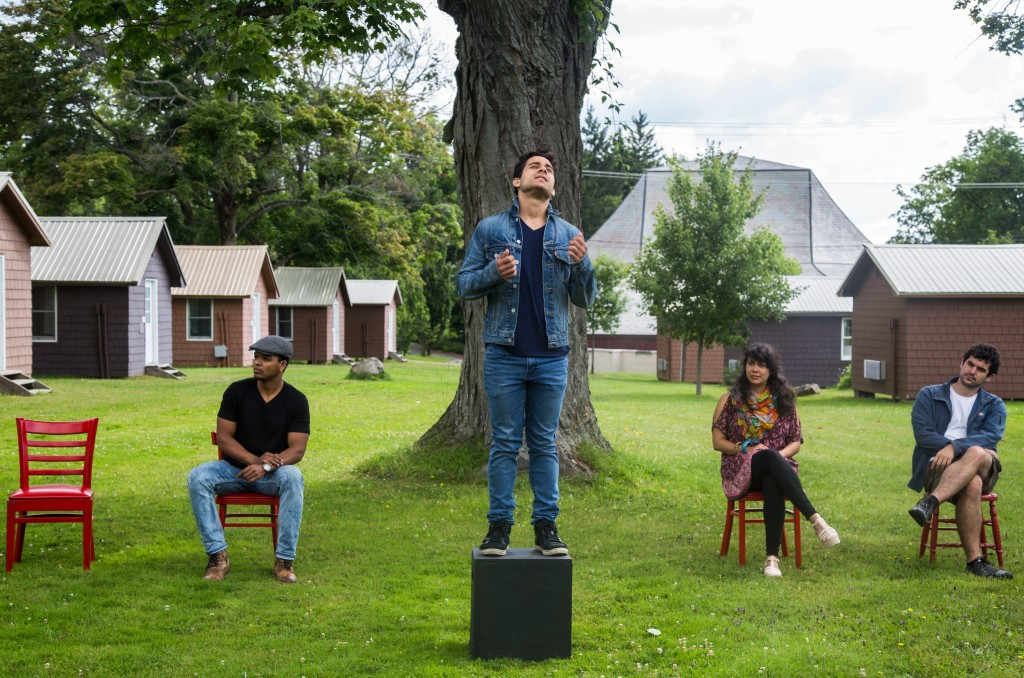 """From left: Myles Bullock, Ricardo Davila, Karen Lugo and John Bambery of The Chautauqua Theater Company rehearse """"Church"""". The Performance will be held outdoors July 28 at 9:30 pm. (Bria Granville   Staff Photographer)"""