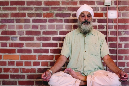 The point of practice: Program director Khalsa leads Week Two's Mystic Heart meditation