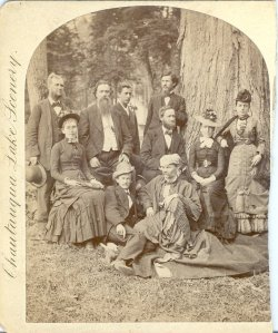 "Augustus O. Van Lennep, seated in the center, dressed in ""Orientalist costume"" in this photo from circa 1878, was a prominent force behind the Chautauqua Archaelogical Museum.  (Photos courtesy of Chautauqua Institution Archives)"
