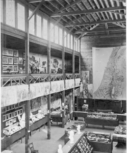 The inside of the Chautauqua Archaeological Museum, also known as Newton Hall, circa 1900. The museum housed Middle Eastern and Egyptian artifacts.