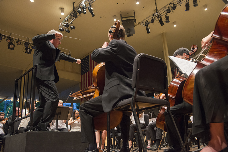 Timothy Muffitt conducts the Music School Festival Orchestra  on Monday, July 20, 2015. (Photos by Joshua Boucher | Staff Photographer)