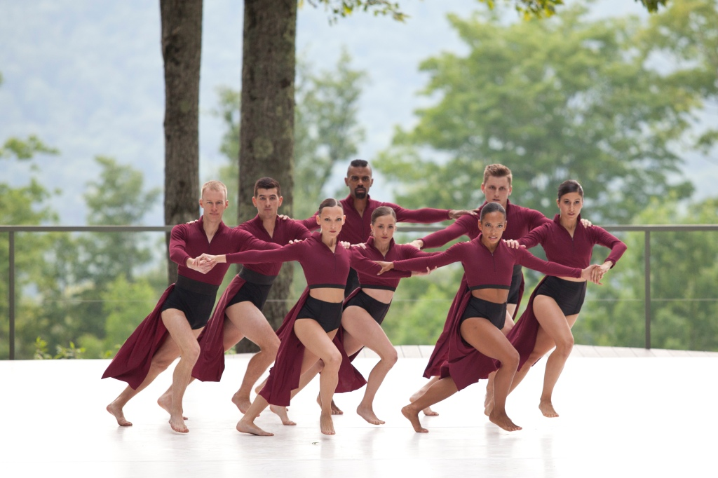 "Members of LehrerDance perform ""Pantheon Rising"" at Jacob's Pillow Dance Festival. (Photo by Jamie Kraus 