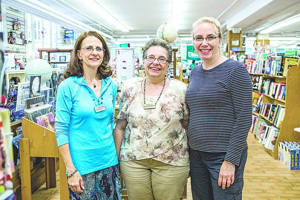 Full-time Bookstore Employees Nancy Swanson, Donna Dominick, and Caroline Snider. (Ruby Wallau | Staff Photographer)